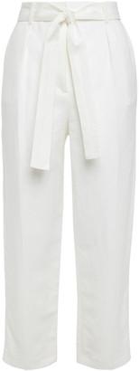 Maje Palizane Cropped Belted Twill Straight-leg Pants