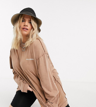 Collusion Plus acid wash t shirt dress with exposed seams in tan