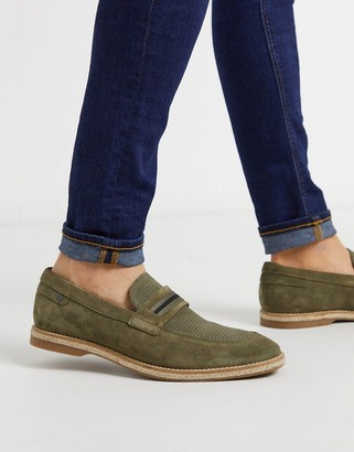 Base London kinsey loafers in khaki suede