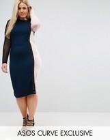 Asos Color Block Midi Dress with Mesh Sleeve