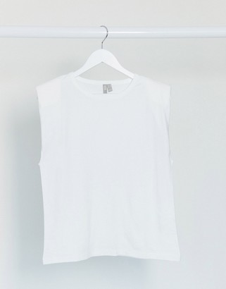 ASOS DESIGN sleeveless relaxed t-shirt with shoulder pad in white