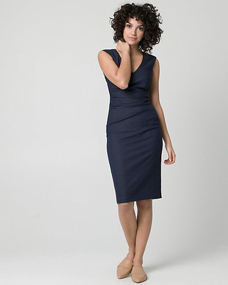 Le Château Viscose Blend V-Neck Pleated Shift Dress