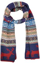 Simplicity Women's Snowflake & Reindeer Multi-Color Knitted Reversible Long Scarf