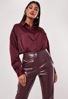 Missguided Burgundy Oversized Satin Shirt