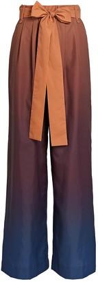 STAUD Winnie Ombre Belted Wide-Leg Pants
