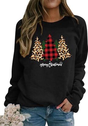 Dresswel Women Merry Christmas Sweatshirt Christmas Tree Pullover Crew Neck Long Sleeve Tops Xmas Jumpers Blouse (Black S)