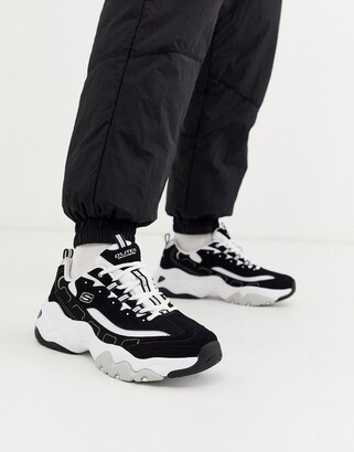 Skechers D'lites 3.0 chunky trainers in black and white