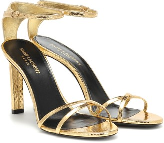 Saint Laurent Mica 95 metallic snakeskin sandals