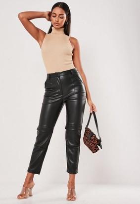 Missguided Black Faux Leather Cargo Cigarette Pants