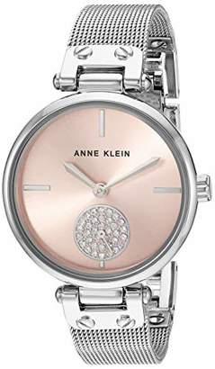 Anne Klein Women's Swarovski Crystal Accented -Tone Mesh Bracelet Watch