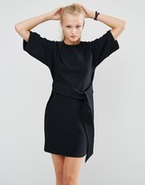 Asos Shift Dress With Tie Front In Heavy Rib