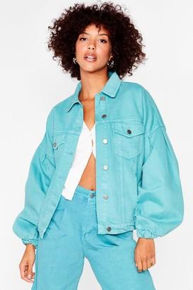 Nasty Gal Womens Turn the Volume High Denim Jacket - Jade