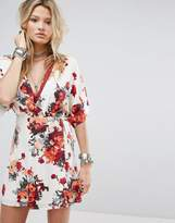 Honey Punch Wrap Front Dress With Kimono Sleeves In Rose Floral