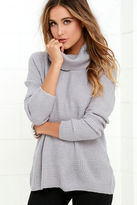 LuLu*s Sweet Salutation Grey Turtleneck Sweater