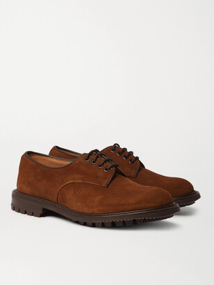 Tricker's Daniel Leather-Trimmed Suede Derby Shoes