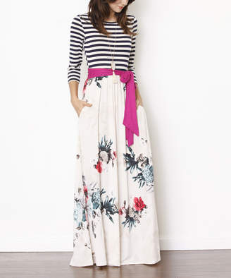 Egs By Eloges egs by eloges Women's Maxi Dresses Magenta - Magenta & Ivory Floral Stripe-Accent Pocket Maxi Dress - Women