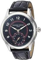 Frederique Constant Men's 'Horological Smart' Swiss Quartz Stainless Steel and Leather Casual Watch, Color:Black (Model: FC-285BBR5B6)