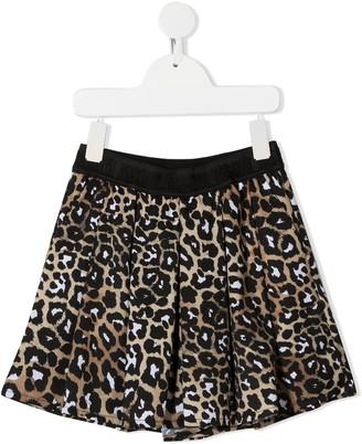 Msgm Kids Leopard-Print Pleated Shorts