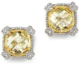Judith Ripka Cushion Stud Earrings with White Sapphire and Canary Crystal