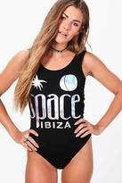 boohoo NEW Womens Alisha Space Ibiza Foil Low Back Licence Bodysuit in Black