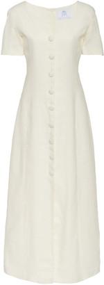 Rebecca De Ravenel Lots Of Love Button-Front Linen Midi Dress