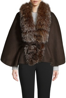 Wolfie Fur Made for Generation Dyed Fox Fur Trim Cape