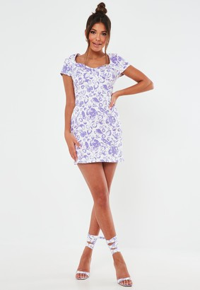 Missguided White And Lilac Porcelain Print Denim Corset Dress