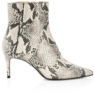 Schutz Bette Snakeskin-Embossed Leather Ankle Boots