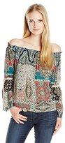 O'Neill Juniors Bennet Off the Shoulder Printed Woven Blouse