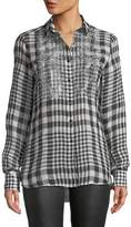 Ermanno Scervino Long-Sleeve Checked Button-Front Linen Blouse w/ Crystal Fringe Bib