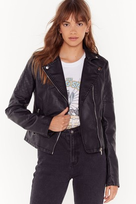 Nasty Gal Womens Quilt While You'Re Ahead Faux Leather Moto Jacket - Black - S