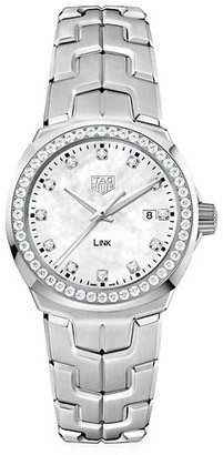 Tag Heuer Link 32MM Stainless Steel, White Mother-of-Pearl Diamond Quartz Bracelet Watch