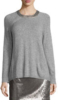 Halston Long-Sleeve Split-Back Crewneck Sweater, Light Gray