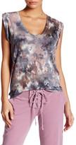 Young Fabulous & Broke Short Sleeve Scoop Neck Print Linen Shirt