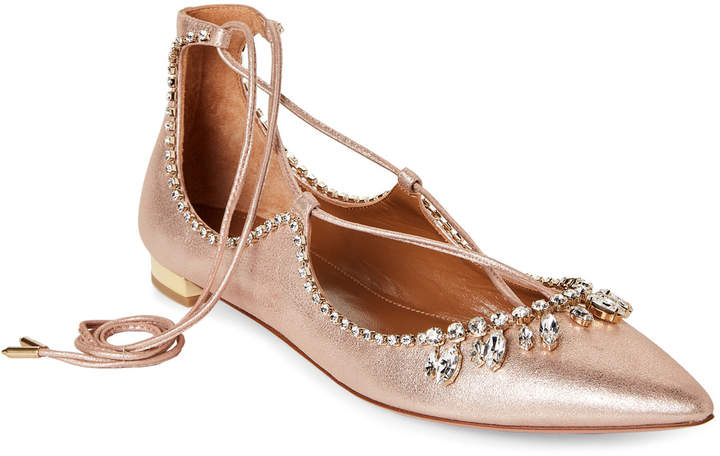 Aquazzura Rose Gold Embellished Metallic Lace-Up Flats