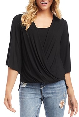 Karen Kane Draped Faux Wrap Top