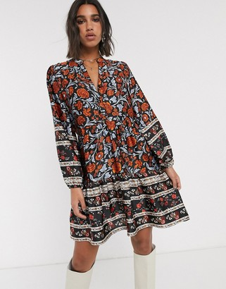 Object tiered smock dress in mixed floral and stripe print-Multi
