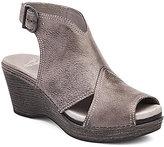 Dansko Vanda Distressed Leather Peep Toe Slingback Buckled Sandals