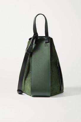 Loewe Hammock Large Paneled Leather And Suede Tote - Dark green