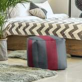 East Urban Home Washington Pullman Stripes Cube Ottoman East Urban Home Upholstery Color: Gray/Red/Gray