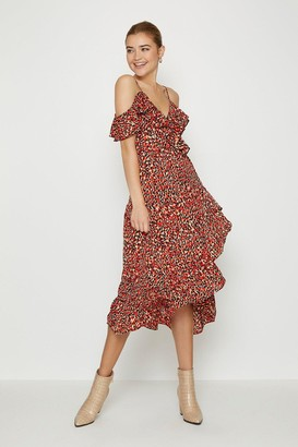 Coast Printed Cold Shoulder Wrap Dress