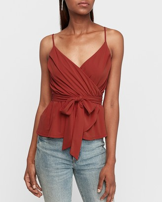 Express Pleated Wrap Front Peplum Cami