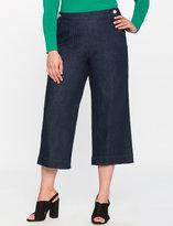 ELOQUII Plus Size Button Front Cropped Denim Pant