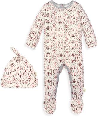 Burt's Bees Joyful Fair Isle Organic Baby Jumpsuit & Knot Top Hat Set