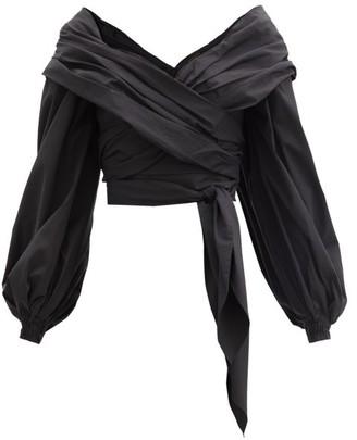 Johanna Ortiz Tu Romancero Off-the-shoulder Cotton-blend Blouse - Black