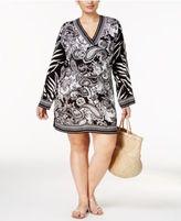LaBlanca La Blanca Plus Size Sevilla Scarf-Print V-Neck Tunic Cover-Up