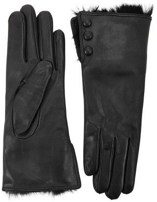 Dents Sophie Black Fur-trimmed Leather Gloves