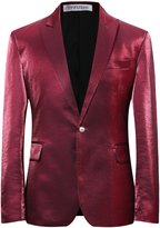 YFFUSHI Men's Slim Fit Casual One Button Blazer Jacket Solid Color Dinner Dress