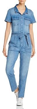 BILLY T Short-Sleeve Jean Jumpsuit in Slate