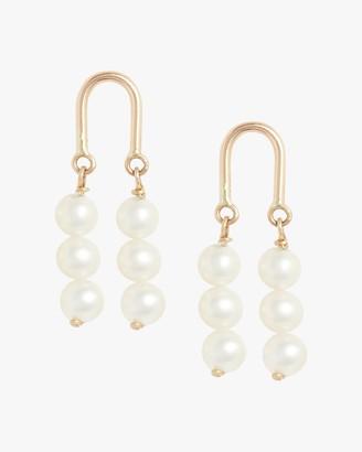 Poppy Finch Gold Arch Three-Pearl Earrings